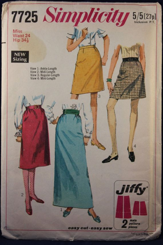Vintage Sewing Pattern 1960\'s Woman\'s Skirt Size 10 Simplicity 7725