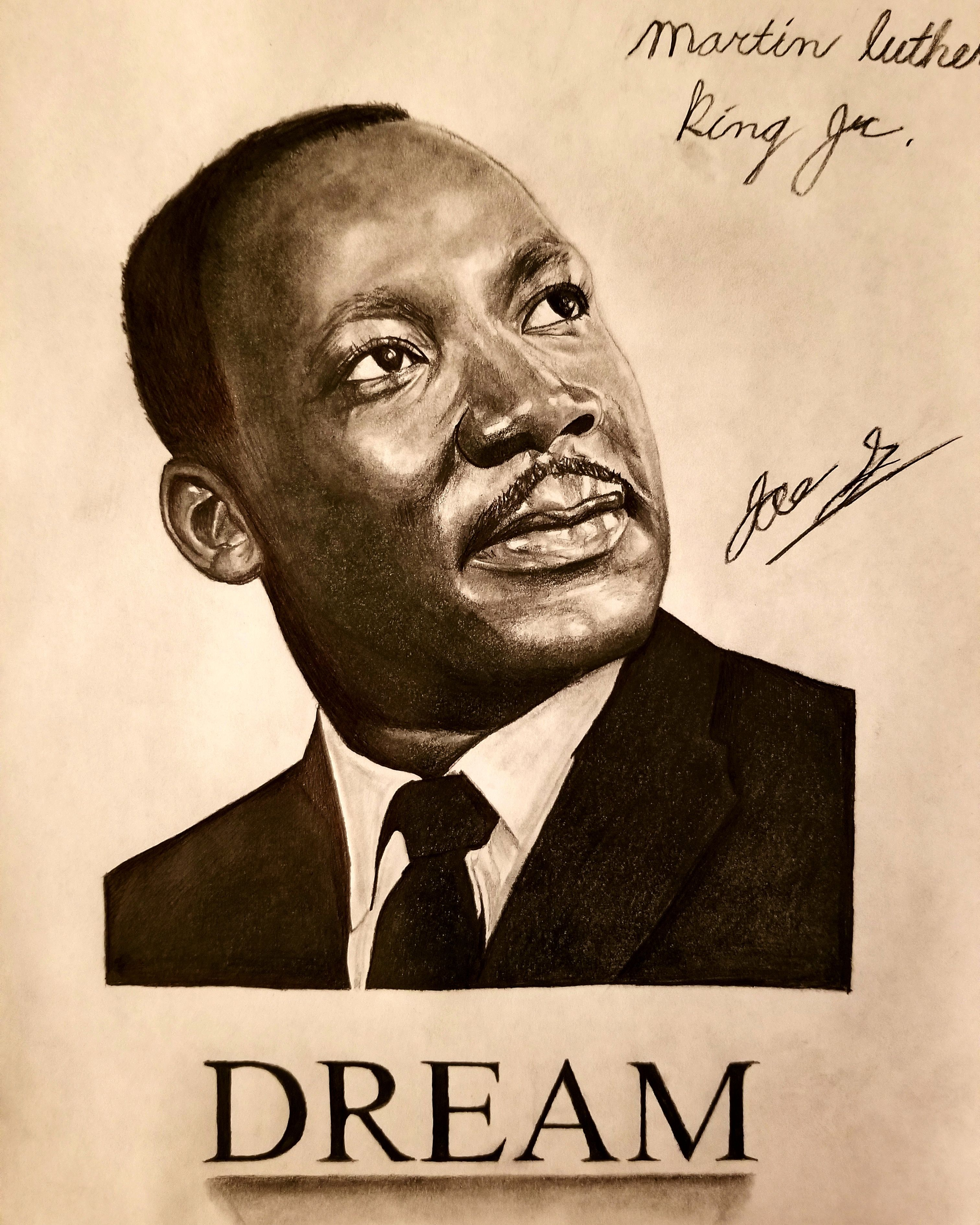 Portrait of Martin Luther king Jr 8.5 11. Drawn with graphite ...