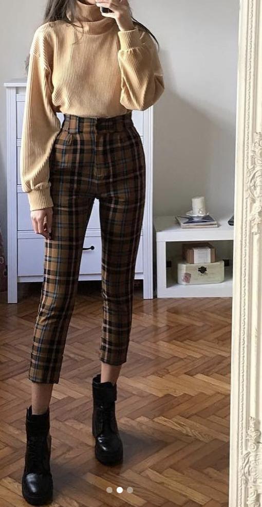 Plaid Pants Turtleneck Retro Outfits Fashion Inspo Outfits Casual Outfits
