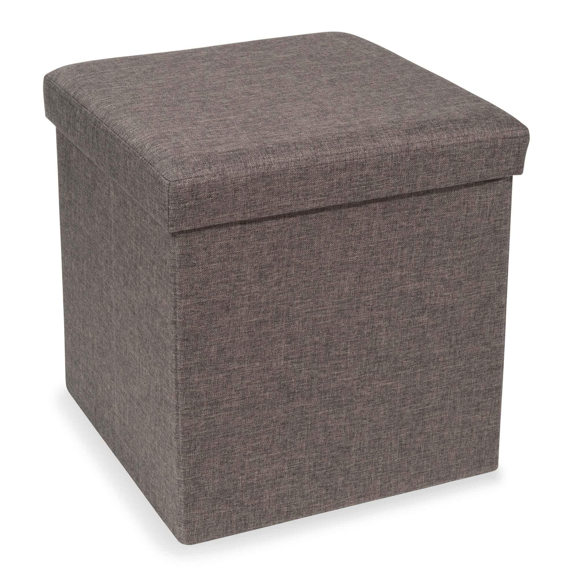 Puf con baúl plegable de tela gris STONE | Muebles | Pinterest ...