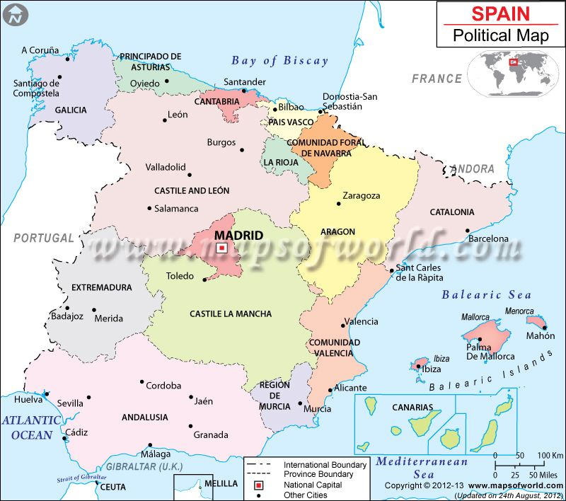 Bilbao On Map Of Spain.Political Map Of Spain Maps Charts Graphs Map Of Spain