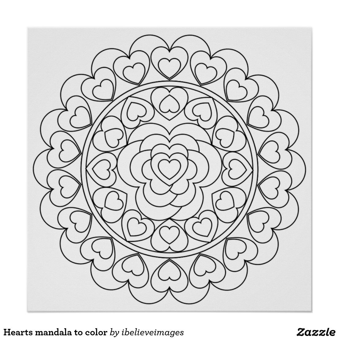 Hearts mandala to color poster