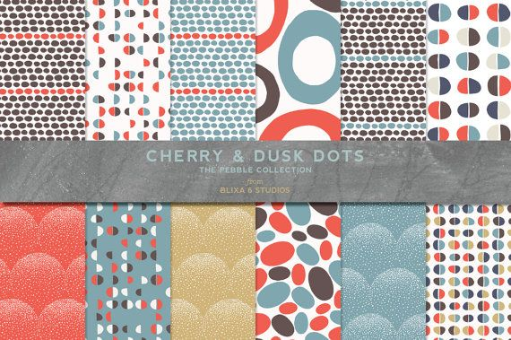 Cherry & Dusk Mod Dot Digital Scrapbook Pages in Red, Teal, Chocolate and Navy Polka Dot Patterns