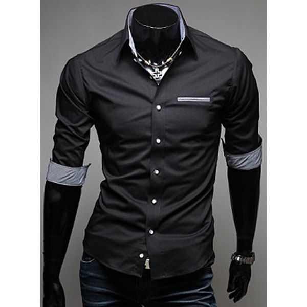 Fashion Hit Color Splicing Pocket Design Shirt Collar Half Sleeve Slimming  Men's Cotton Shirt