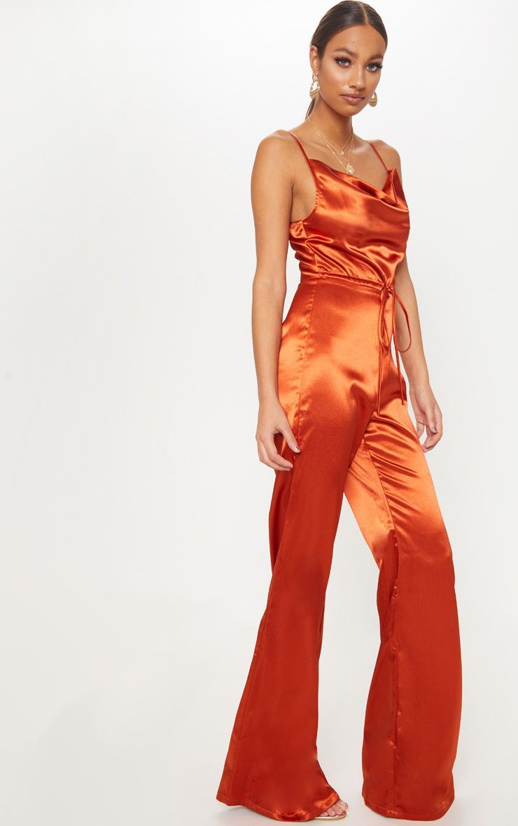 83b08aa2ca7 Rust Satin Cowl Neck Jumpsuit in 2019