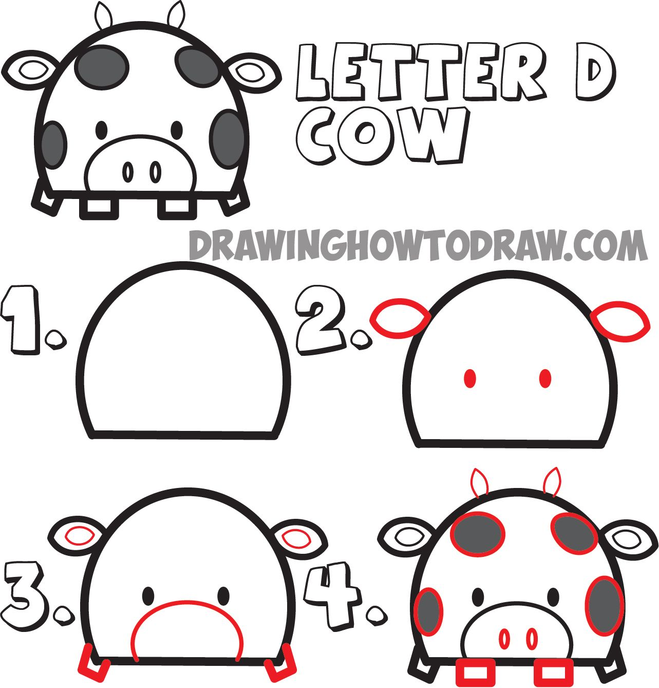 Uncategorized Easy Cartoon Animals To Draw how to draw cartoon cows from uppercase letter d shape rylie huge guide drawing animals the tutorial for kids step by tut