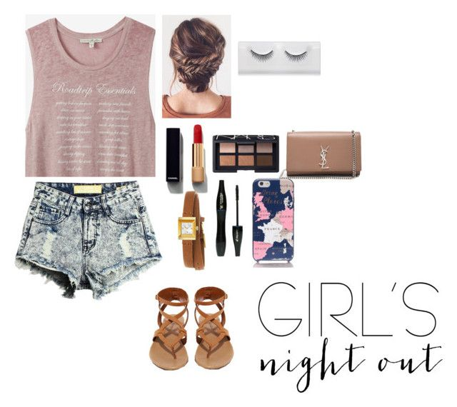 """girl's night out summer edition!"" by shanaya-mohd ❤ liked on Polyvore featuring Express, Breckelle's, Chanel, NARS Cosmetics, Lancôme, Kate Spade, Yves Saint Laurent and Gucci"