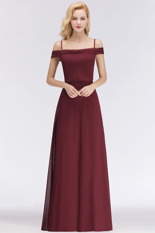 Elegante Brautjungfernkleider Weinrot Chiffon Etuikleider für
