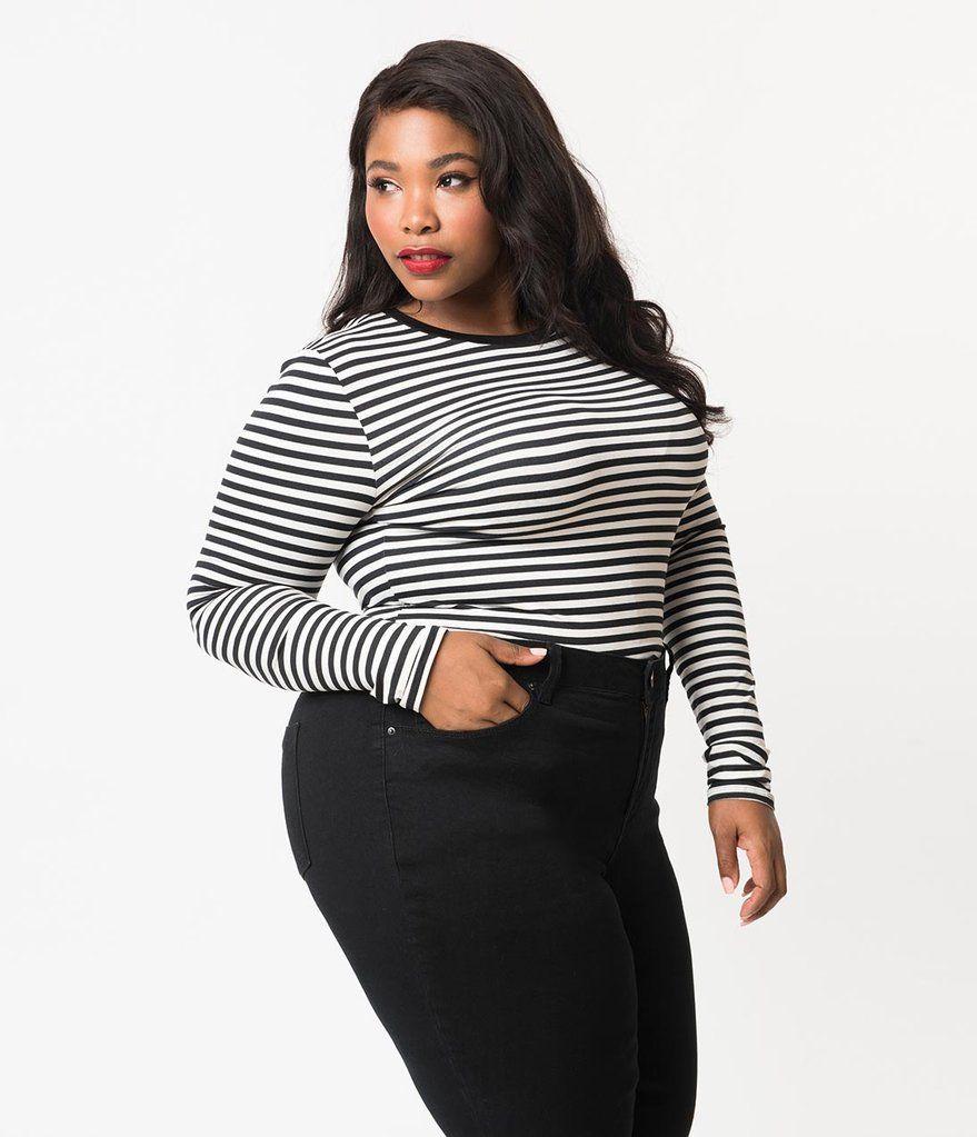 a14c3380742 Plus Size Retro Style Black   Off White Stripe Stretch Knit Crop Top ...