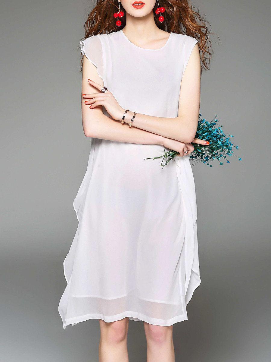 Adorewe stylewe midi dressesdesigner dfanni white ruffled
