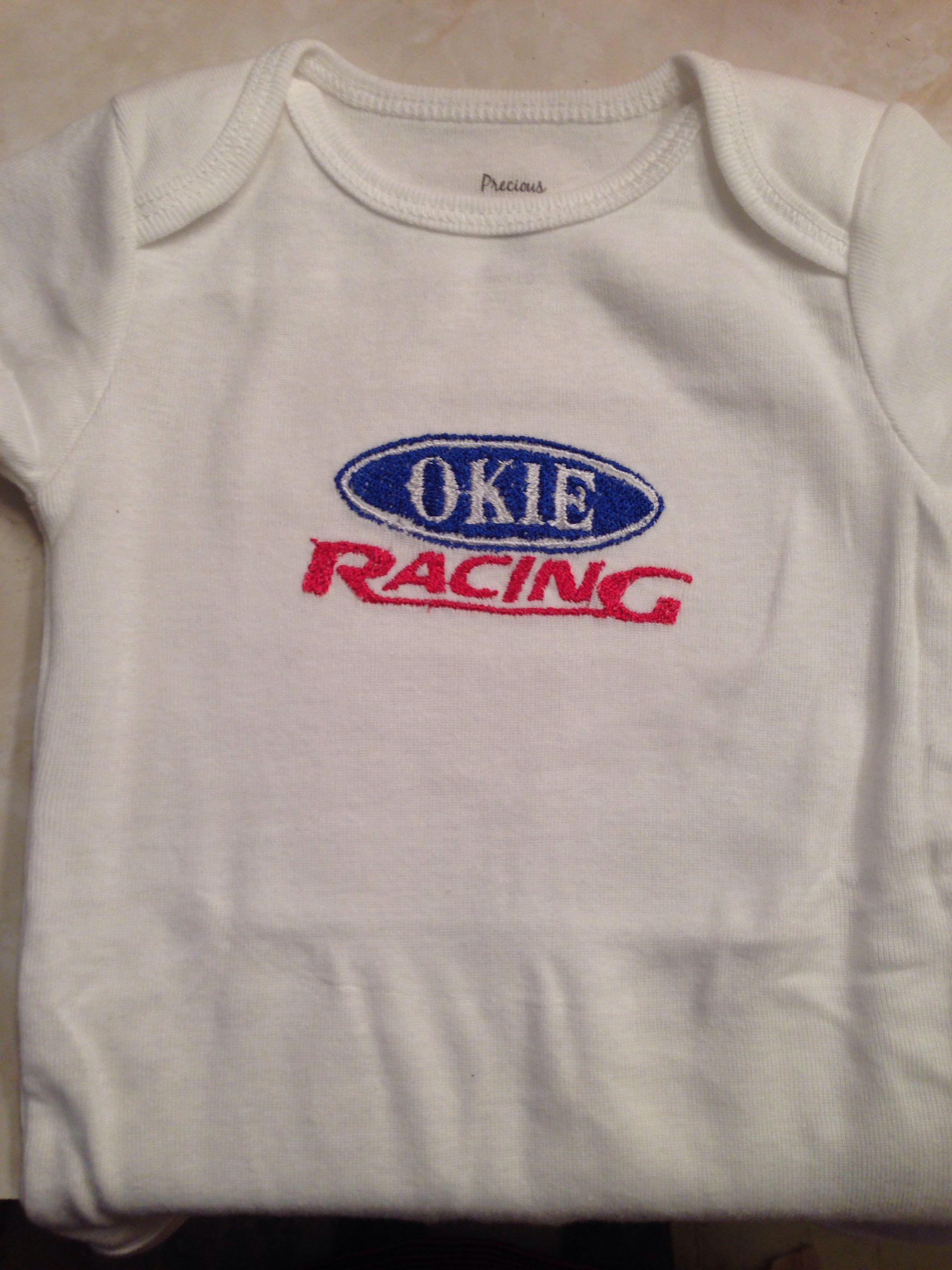 Okie Racing Onesie Embroidery Designs Pinterest Embroidery