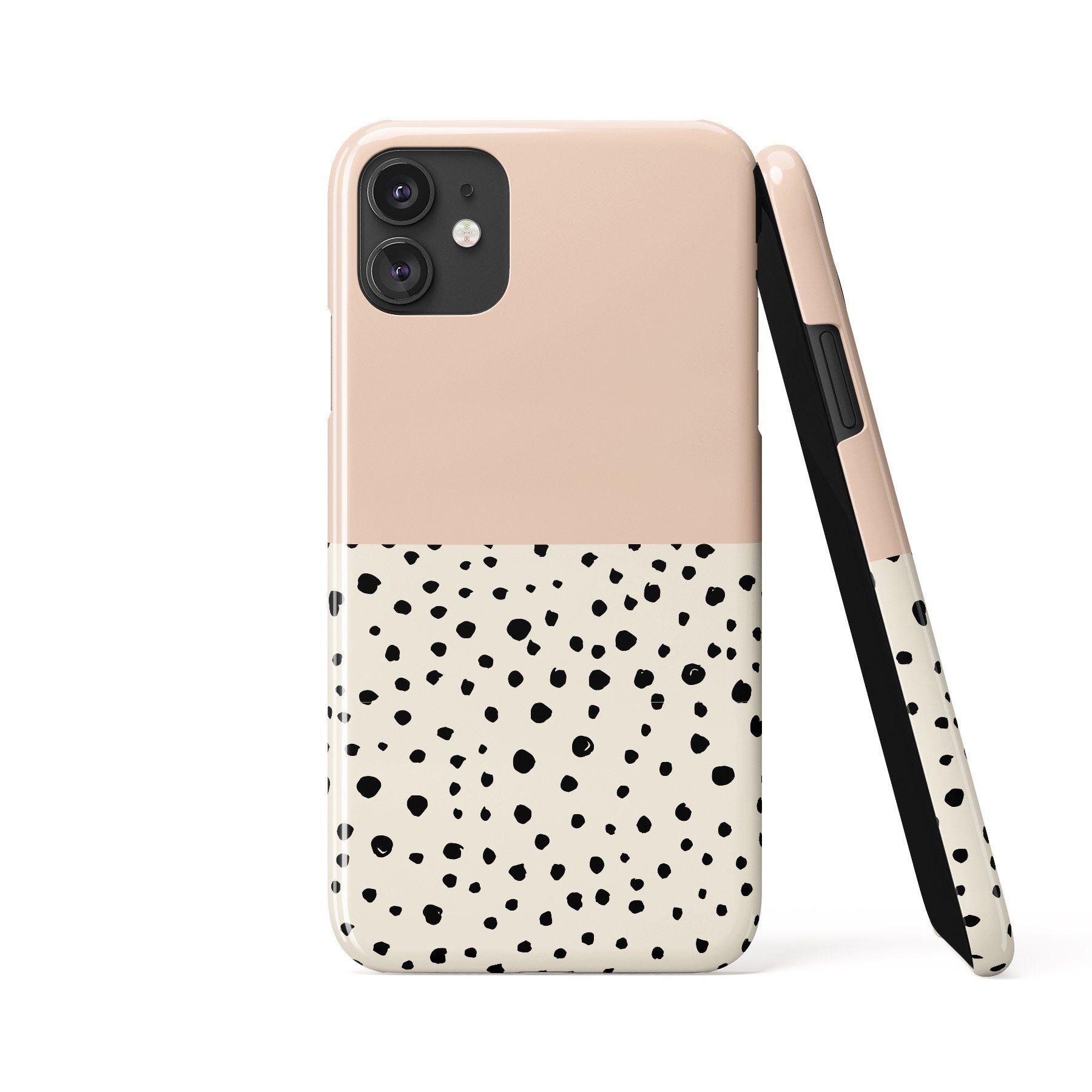 LIV GEO DOTS Peach Cream Phone Case - iPhone 13 Pro Max / Snap Case - Gloss