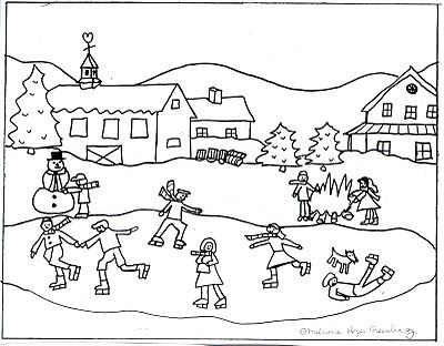 Winter Scene Coloring Page from Kid Lit Illustrator | Scene, Winter ...