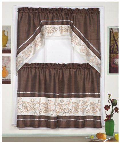 3pc Beige Brown With Embroidered Gold Floral Kitchen Cafe Curtain Tier And Swag Set Cafe