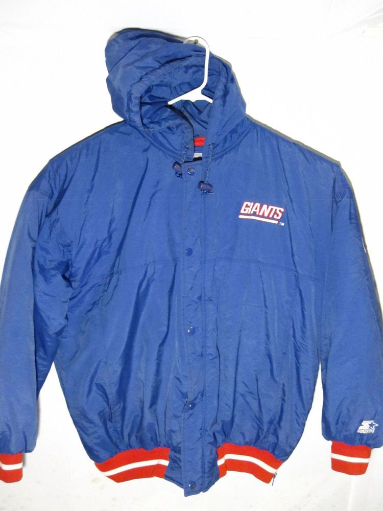 the latest e5de5 8240d vintage starter new york giants puffy jacket with hood mens ...