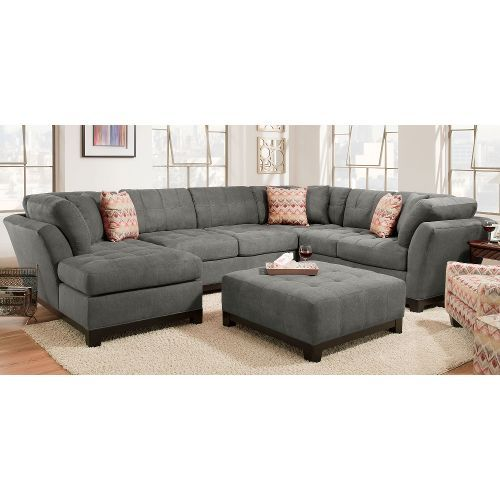 Contemporary Gray 3 Piece Sectional Sofa With Laf Chaise Loxley