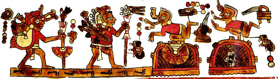 "The Codex Selden is a Mexican manuscript Mixtec origin. The two figures on the right show the red and white ""flint knife"" icon attached to their small speech scrolls, indicating that they are verbally attacking the travellers on the left."