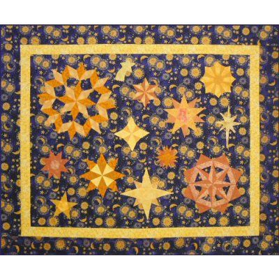 Celestial Wonderings Quilt Pattern ~ A great Handwork project! http://www.victorianaquiltdesigns.com/VictorianaQuilters/PatternPage/CelestialWonderings/CelestialWonderings.htm #quilting #stars