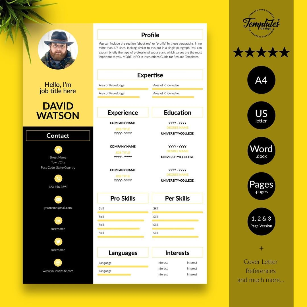 Creative and Modern Resume/CV Template for Microsoft Word