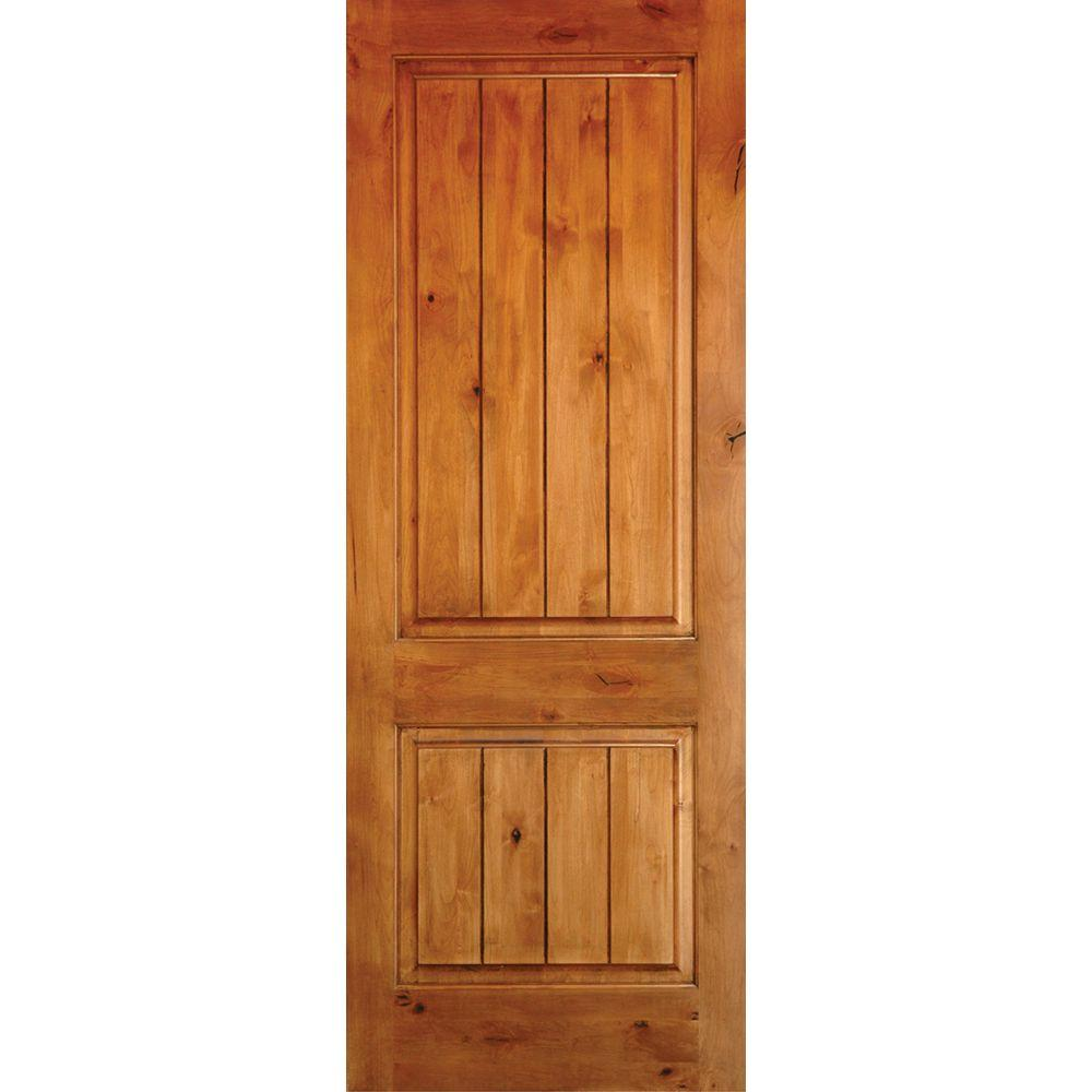 Krosswood Doors 28 In X 80 In Knotty Alder 2 Panel Square Top V Groove Solid Wood Left Hand Single Prehung Interior Door Ka 300v 24 68 134 Lh The Home Depot Wood Front Doors Prehung Interior Doors