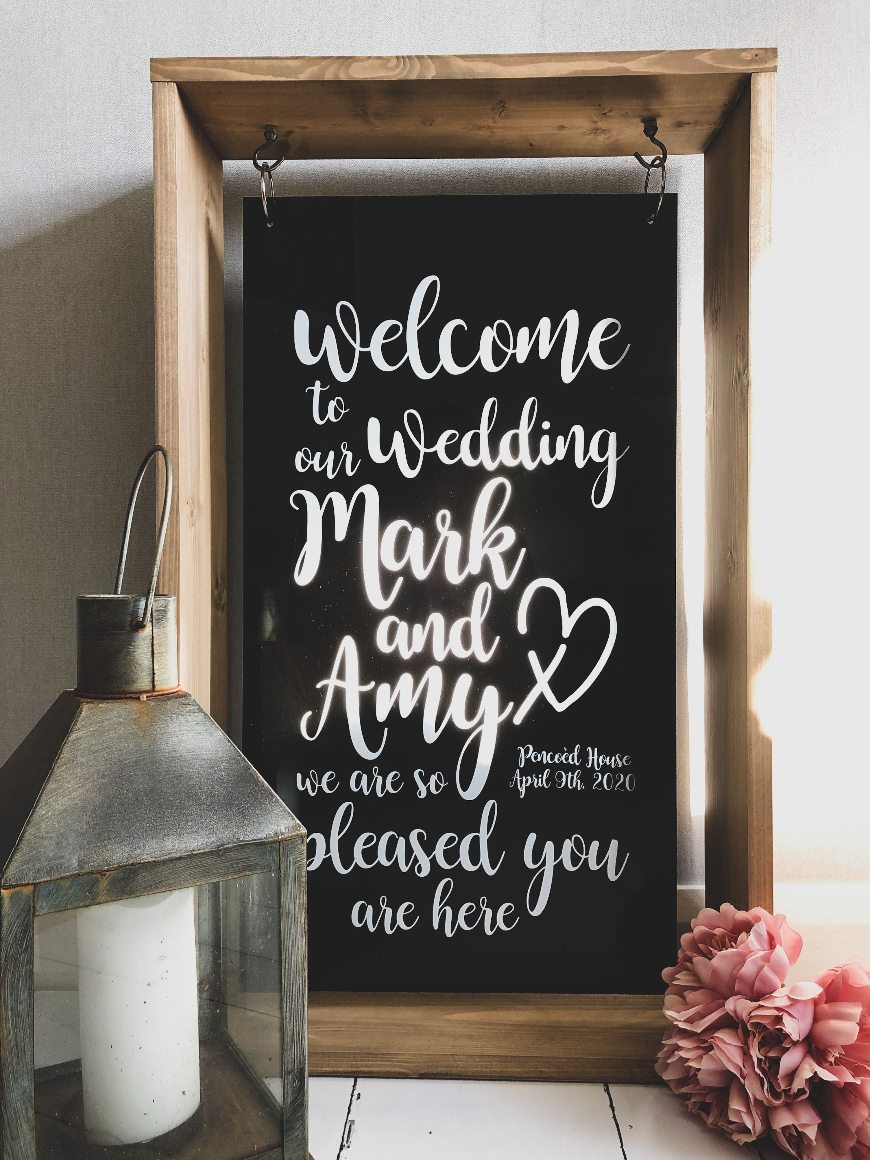Black Hanging Acrylic Wedding Sign With Wood Frame in 2020