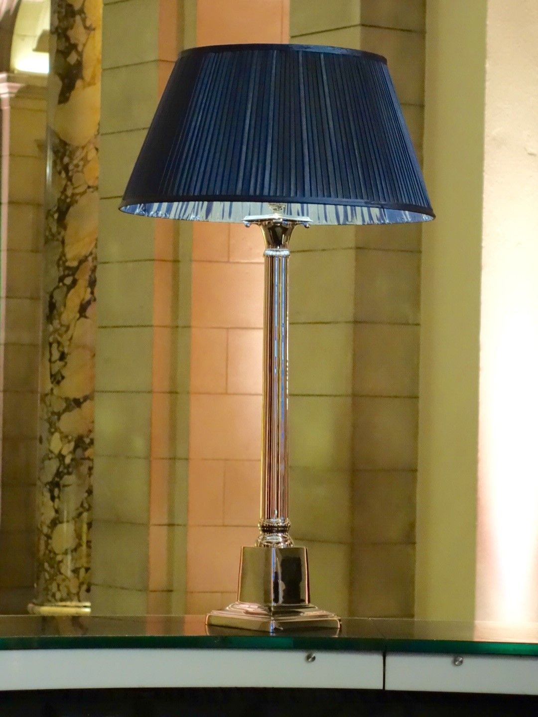 Corinthian lamp with stylish navy couture shade table lamps corinthian lamp with stylish navy couture shade geotapseo Choice Image
