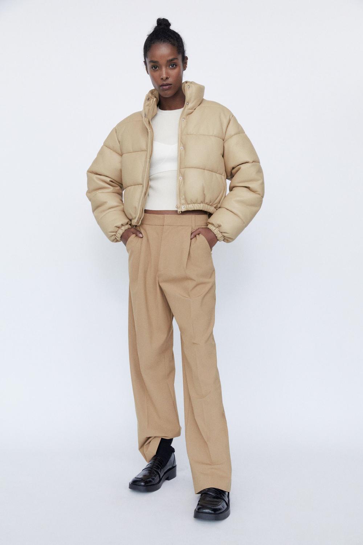 Faux Leather Padded Jacket Zara United States Wattierte Jacke Jacken [ 1500 x 1000 Pixel ]