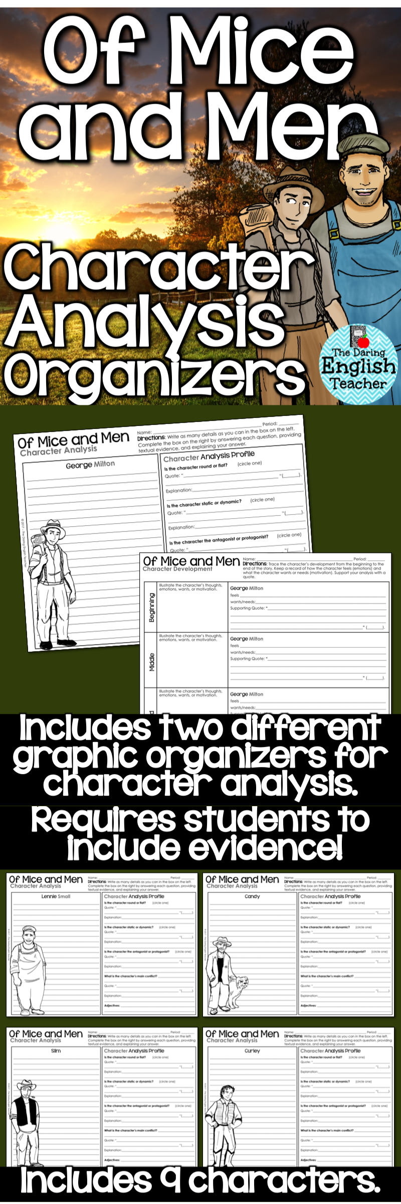 of mice and men character analysis graphic organizers american  of mice and men character analysis graphic organizers