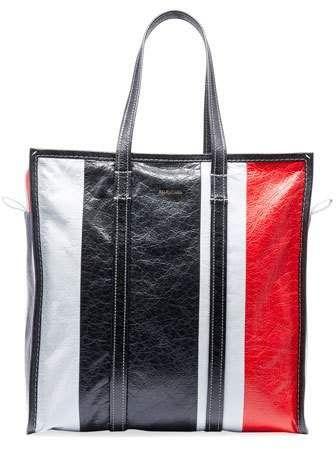 Balenciaga Men s Bazar Medium Striped Leather Shopper Tote Bag ... fd82ae6183
