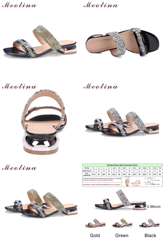 Visit to Buy  Meotina Women Sandals Summer 2017 Women Slides Glitter Low  Heel Slippers 3b74b59d3630