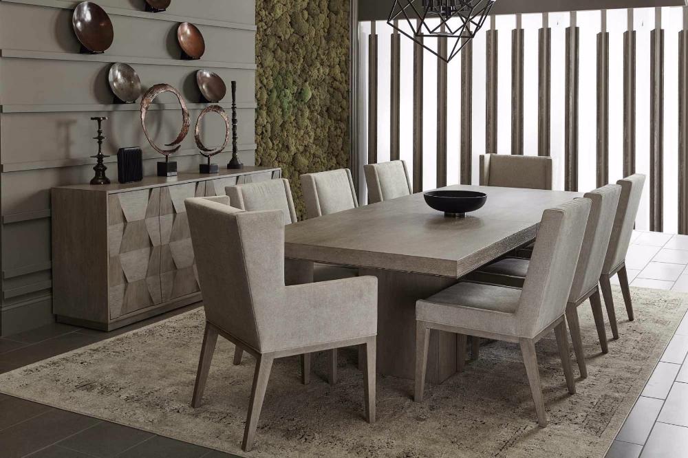 Bernhardt Linea 7pc Rectangular Dining Set In Cerused Greige