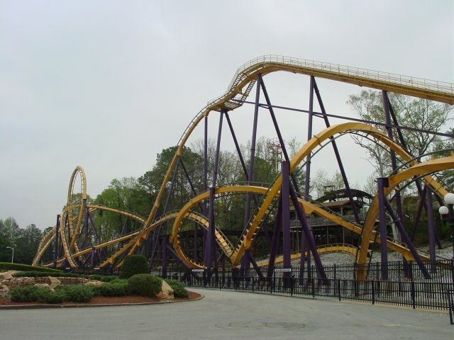 The Georgia Scorcher At Six Flags Over Georgia Is A Stand Up Coaster Roller Coaster Thrill Ride Amusement Park