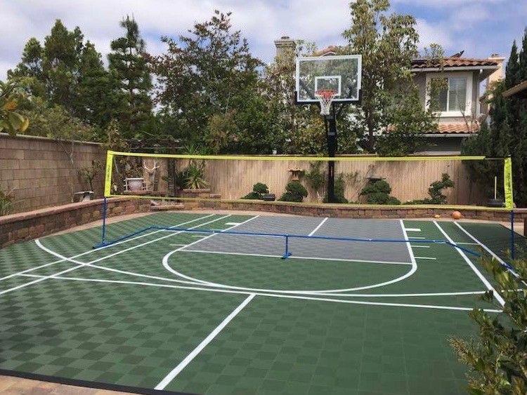 Backyard Basketball Court Flooring Modutile Outdoor Sport Tiles In 2020 Backyard Basketball Basketball Court Backyard Home Basketball Court