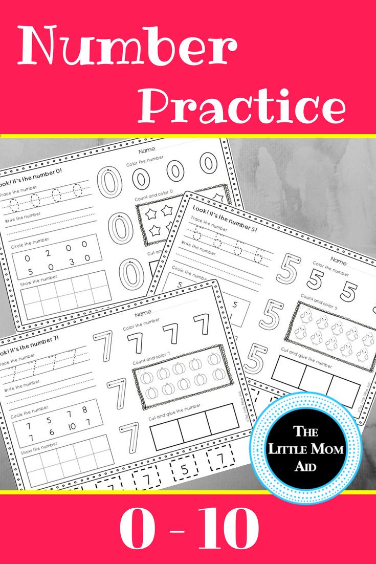 Number Practice Worksheets 0 - 10   Pinterest