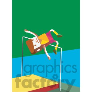 Olympic high jump sports character illustration
