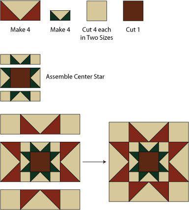 Christmas Rising Star Quilt BlockPattern