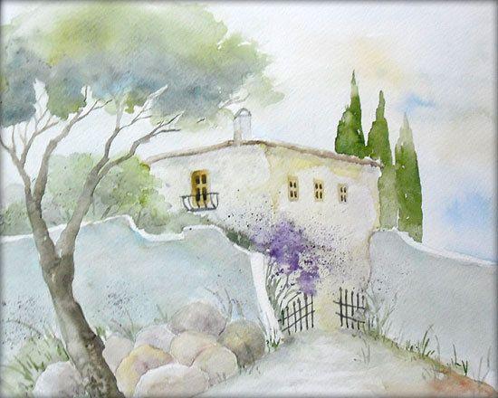 kleine finca aquarell watercolor 24 x 30 cm. Black Bedroom Furniture Sets. Home Design Ideas