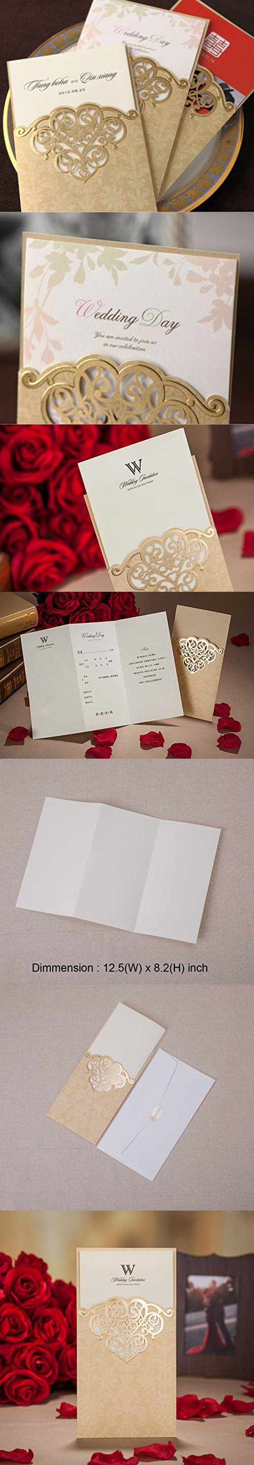 bridal shower invitation pictures%0A Wishmade Laser Cut Vintage Elegant Pocket Wedding Invitations Cards Gold     Pieces Set for Marriage Birthday Bridal Shower Heart with Envelopes Seals  Party