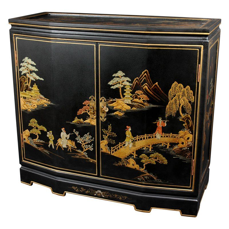 Oriental Furniture Japanese Slant Front Cabinet LCQ 35 BC