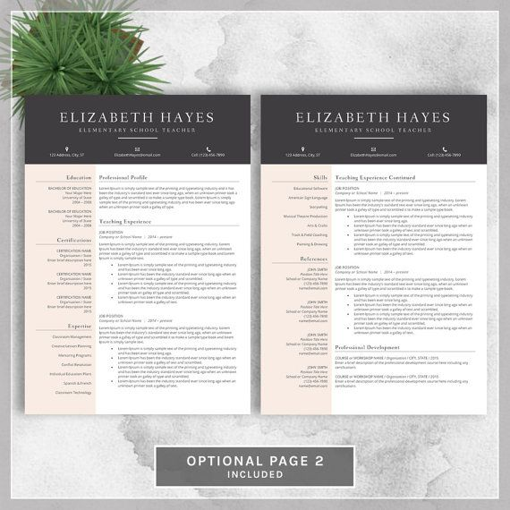 Teacher Resume Template Cv Template For Ms By Cvtemplatesbydesign