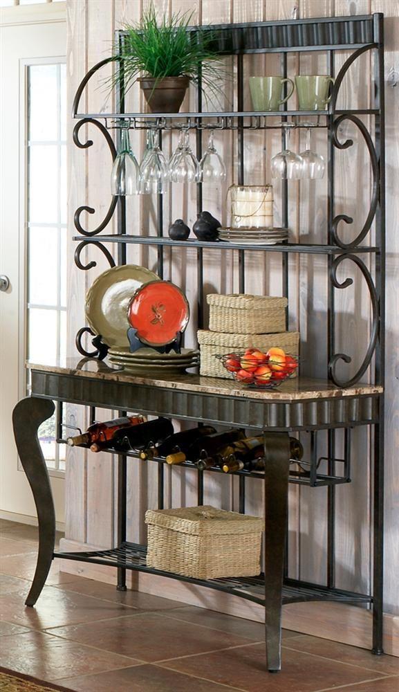 Hamlyn Marble Top Bakers Rack Bakers Rack Furniture Metal Shelves