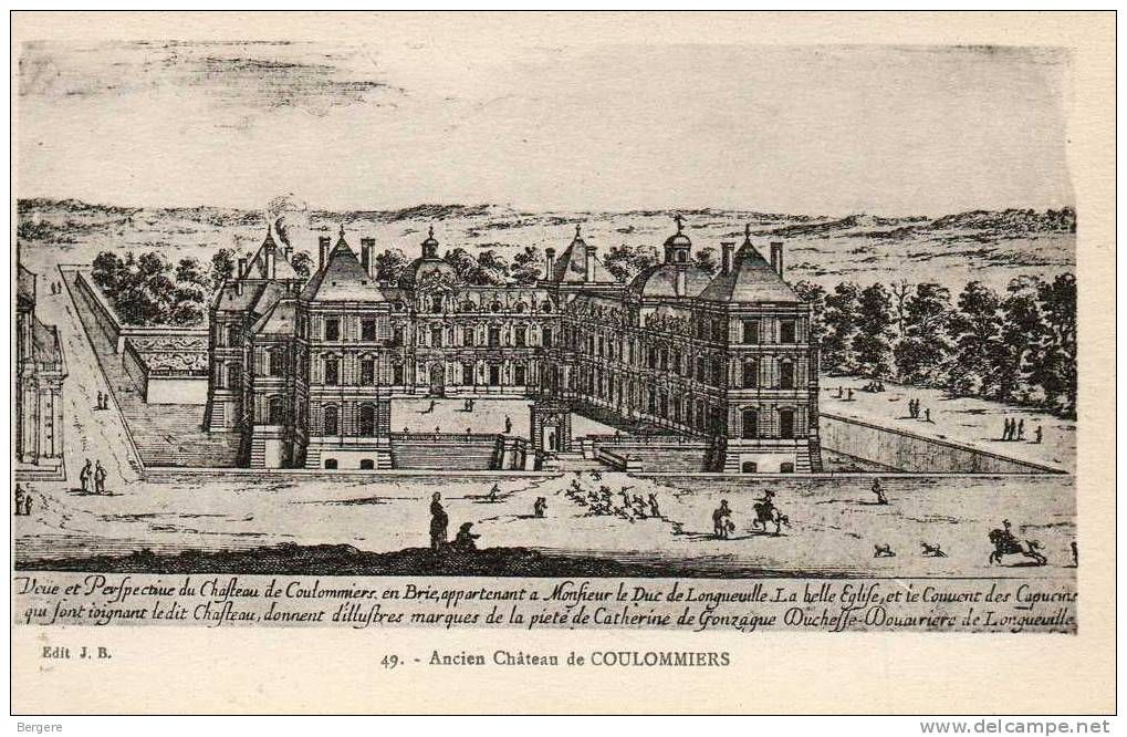 23. Palpáis Coulommiers - Salomon de Brosse (1613). Todavía dominado por elementos medievales como las altas torres de las esquinas, y en la que la forma de u resulta aún muy cerrada.