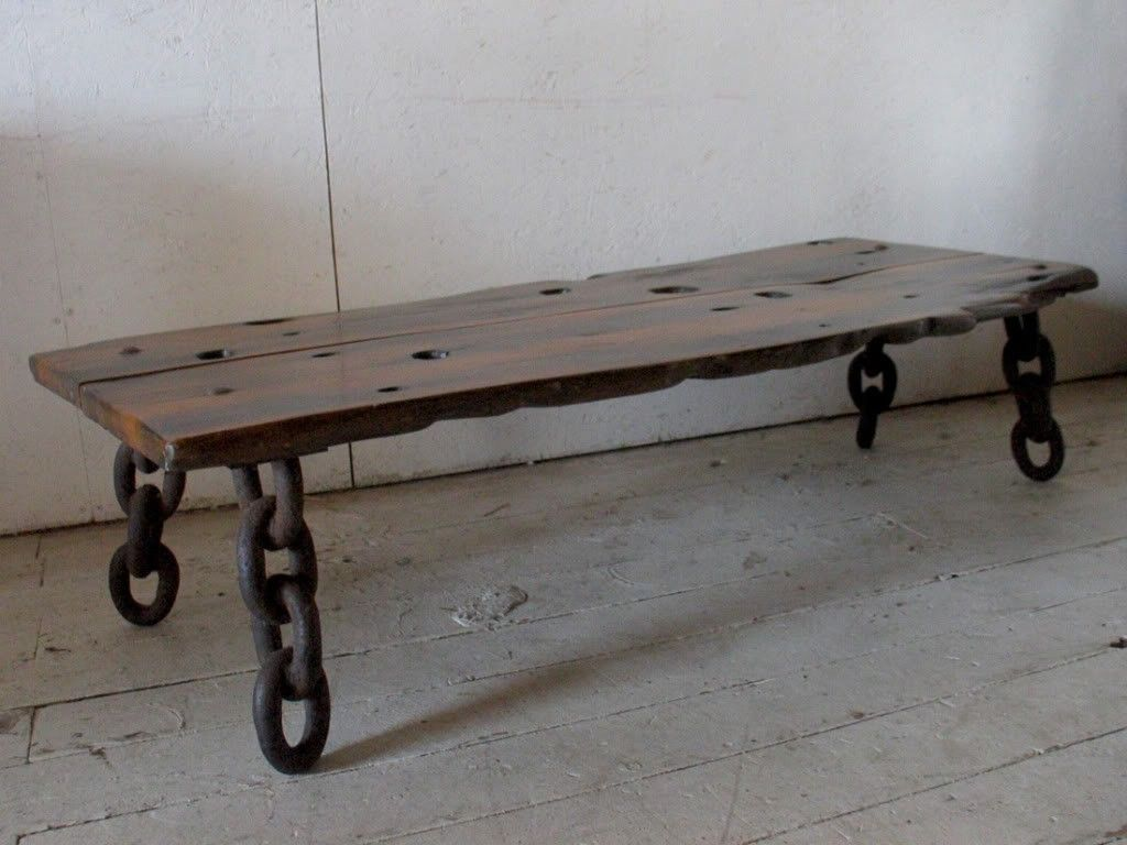 Vintage Wood Slab Coffee Table Bench Early Exotic Wood Shipwreck Artisan Bench W Old