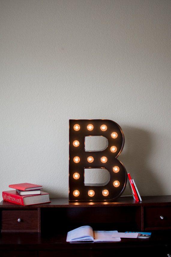 vintage inspired marquee light letter b by saddleshoesigns on etsy rh pinterest com
