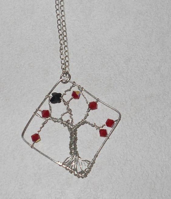 Wire wrapped pendant necklace with beads and chain. Craft ideas 4355 ...