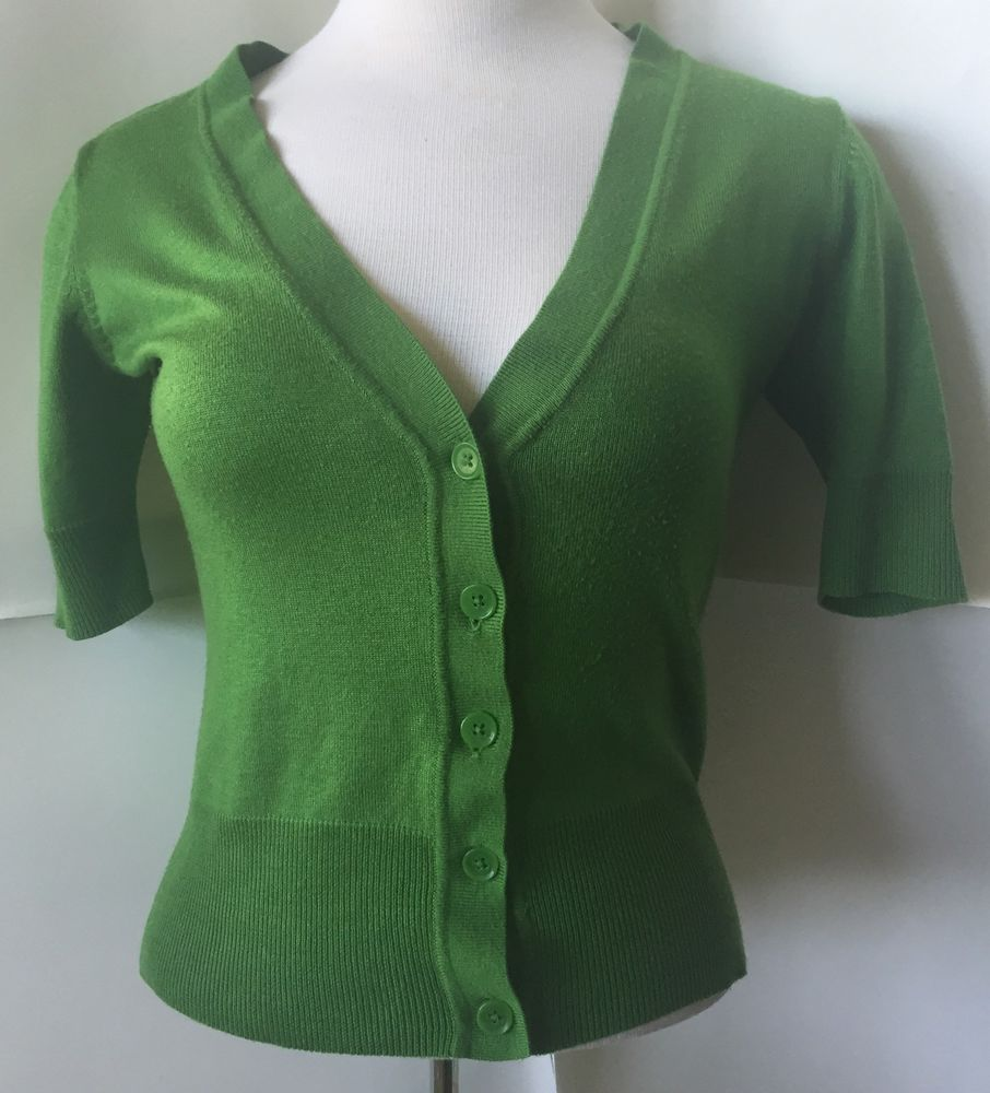 New York Company Green Button Down Cardigan Short Sleeve Sweater s ...
