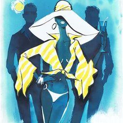 An illustration for Giorgio Beverley Hills magazine by Jacqueline Bissett