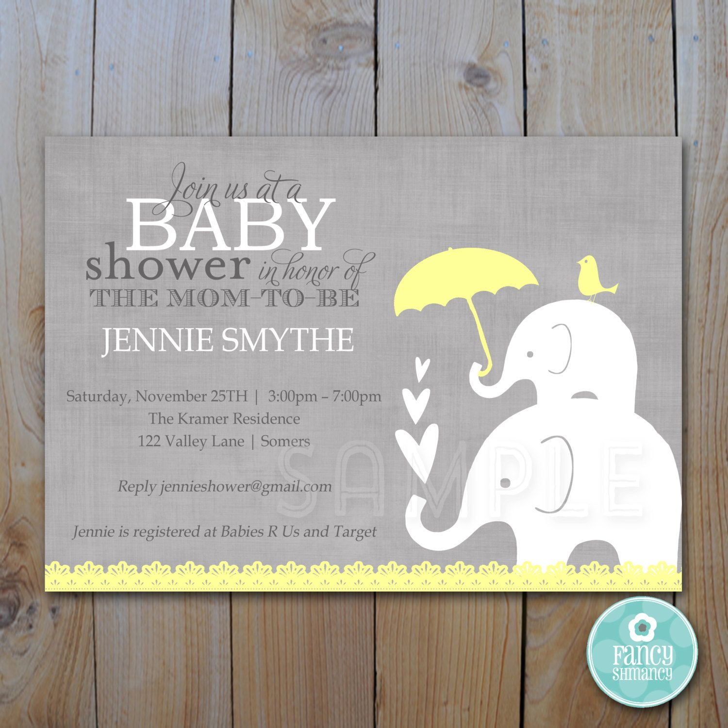 baby shower invitation for twins%0A Editable Baby Shower Invitation   Yellow and by FancyShmancyNotes