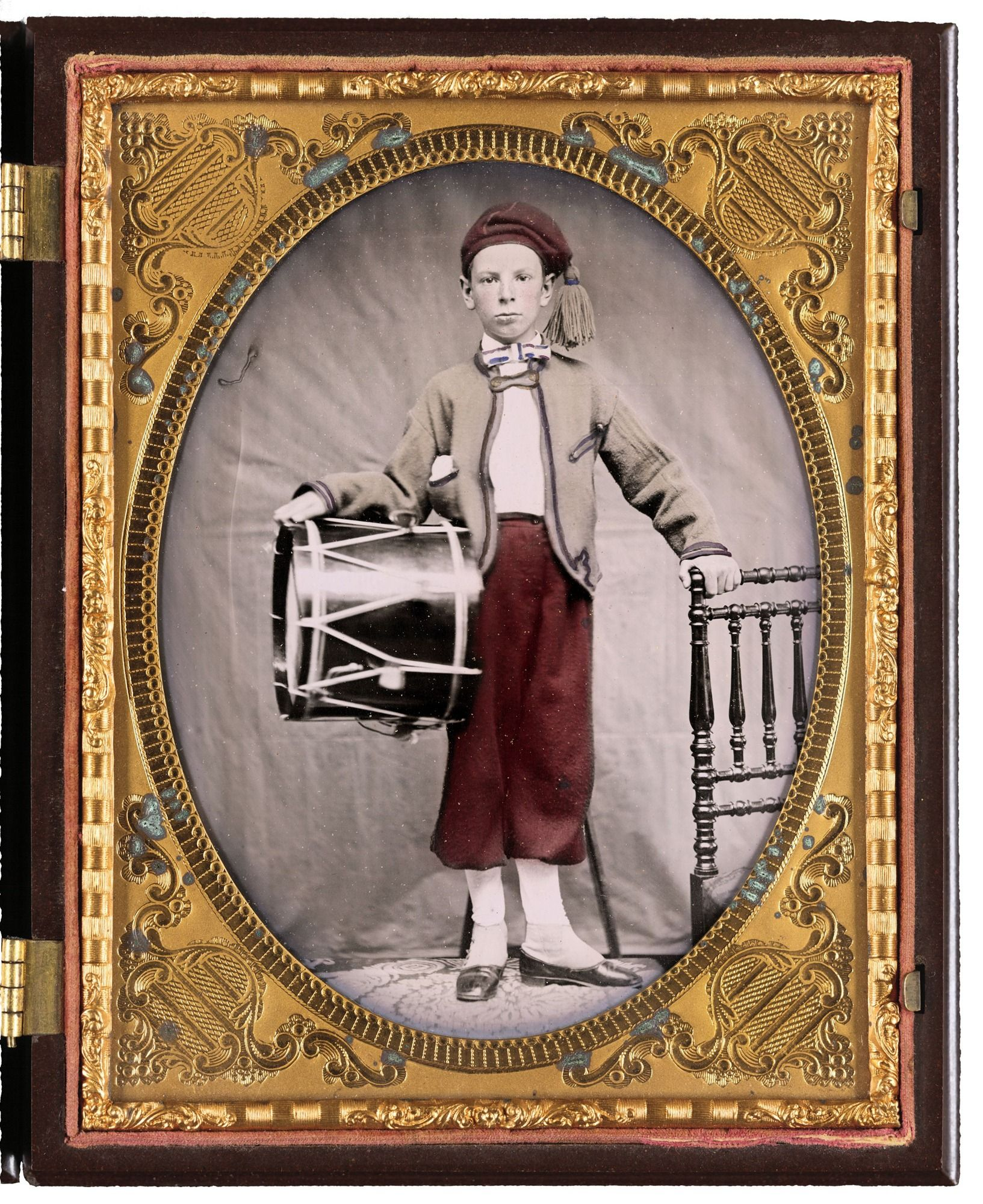 Unidentified boy in Union zouave uniform with drum.  Liljenquist Family Collection of Civil War Photographs; Ambrotype/Tintype photograph filing series; Library of Congress Prints and Photographs Division.