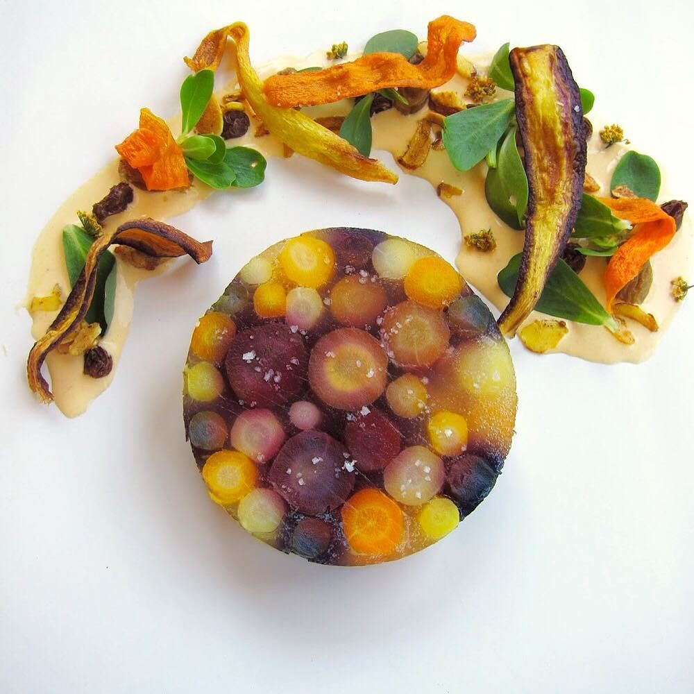 Carrot terrine cumin fennel carrot creme fraiche purslane aloe candied curry almond #gastroart #gastronomia #gastronomy #TheArtOfPlating #chef #ChefsOfInstagram #chefstalk  #cheflife #carrot #farmtotable by juddchef